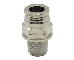 "3/8"" PTC X 1/4"" NPT Nickel Plated Brass Male Connector"