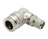 "1/2"" Hose X 1/4"" NPT 90 Degree Nickel Plated Brass Connector Swivel Elbow."
