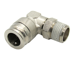 "1/2"" Hose X 3/8"" NPT 90 Degree Nickel Plated Brass Connector Swivel Elbow."