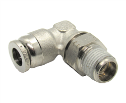 "1/4"" Hose X 1/4"" NPT 90 Degree Nickel Plated Brass Connector Swivel Elbow."
