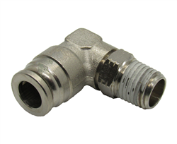 "1/4"" Hose X 1/8"" NPT 90 Degree Nickel Plated Brass Connector Swivel Elbow."
