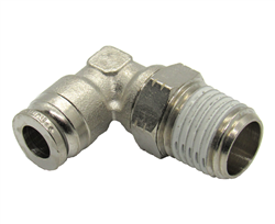 "1/4"" Hose X 3/8"" NPT 90 Degree Nickel Plated Brass Connector Swivel Elbow."
