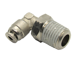 "1/8"" Hose X 1/4"" NPT 90 Degree Nickel Plated Brass Connector Swivel Elbow."