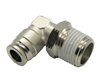 "3/8"" Hose X 1/2"" NPT 90 Degree Nickel Plated Brass Connector Swivel Elbow."
