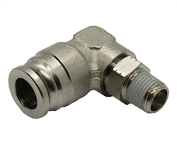 "3/8"" Hose X 1/8"" NPT 90 Degree Nickel Plated Brass Connector Swivel Elbow."