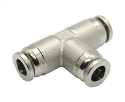 "Nickel Plated Brass 1/4"" PTC X 1/4"" PTC X 1/4"" PTC Union Tee Fitting"