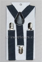 Boys dark gray suspenders