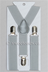 Boys light gray silver suspenders