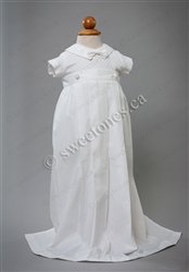 Boy cotton weaved romper with detachable gown