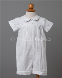 Boy Christening embroidered cotton romper