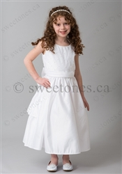 SALE! White satin dress with pearl beading – Style FC-014