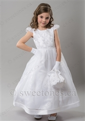 First Communion dress with embroidered satin and organza overlay  – Style FC-Hailey