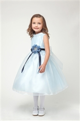 blue satin and organza overlay formal dress