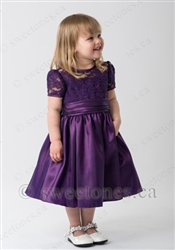Purple lace and taffeta girl party dress