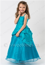 Turquoise taffeta girl formal dress