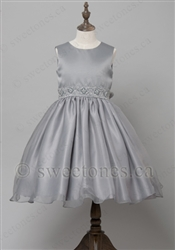 Gray satin girl party dress– Style FG-031