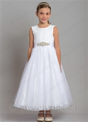Beautiful lace tulle dress with rhinestone belt– Style FGC-Angela