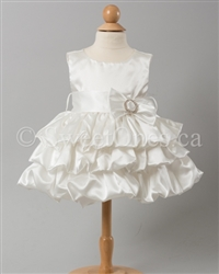 baby ivory bubble tier satin dress with bolero