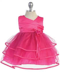 Baby pink taffeta party dress