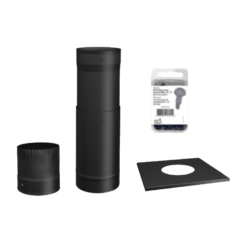 - SP00370 TO THE CEILING 6'' BLACK STOVE PIPE KIT