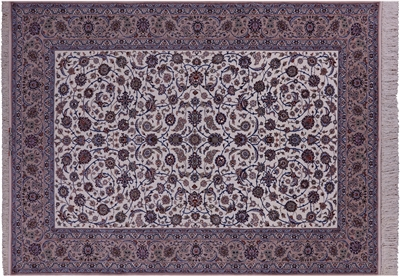 Signed Isfahan Wool & Silk Persian Rug