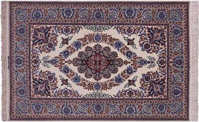 Hand Knotted Isfahan Signed Wool & Silk Rug