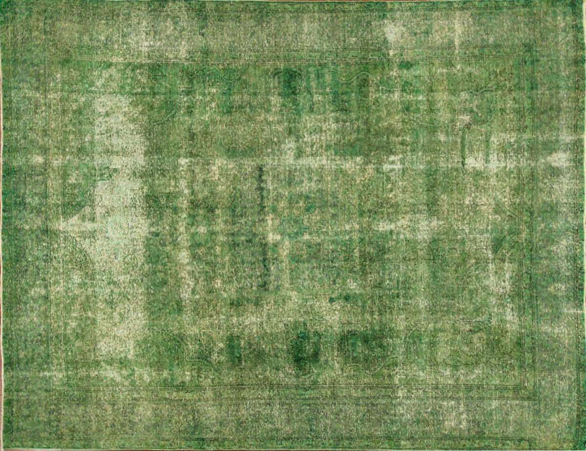 Green Overdyed Persian Oriental Hand Knotted