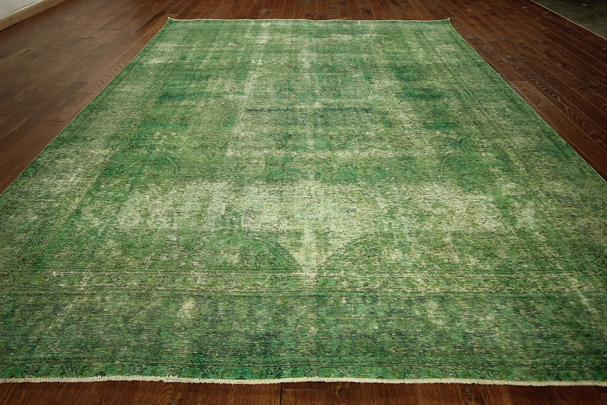 Green Cast Overdyed Persian Oriental Rug 10x12 Wool Hand Knotted Area Rug  H3046