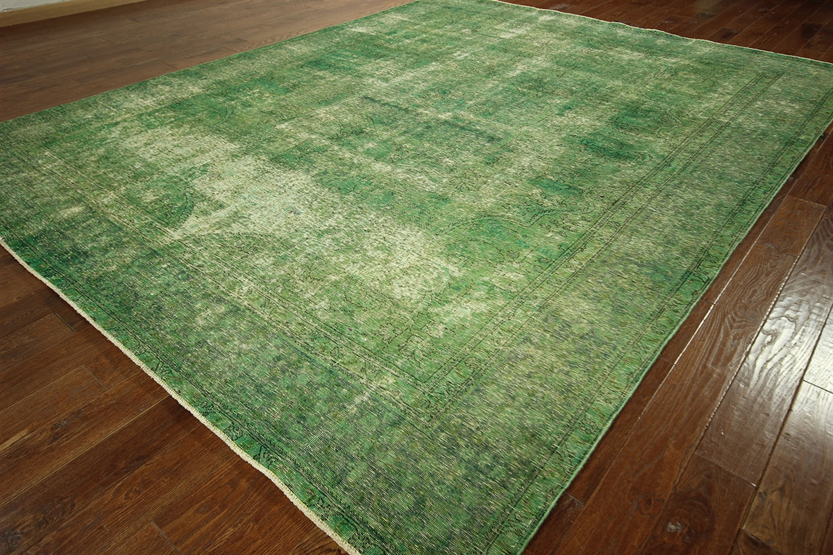 Green Cast Overdyed Persian Oriental Rug 10x12 Wool Hand