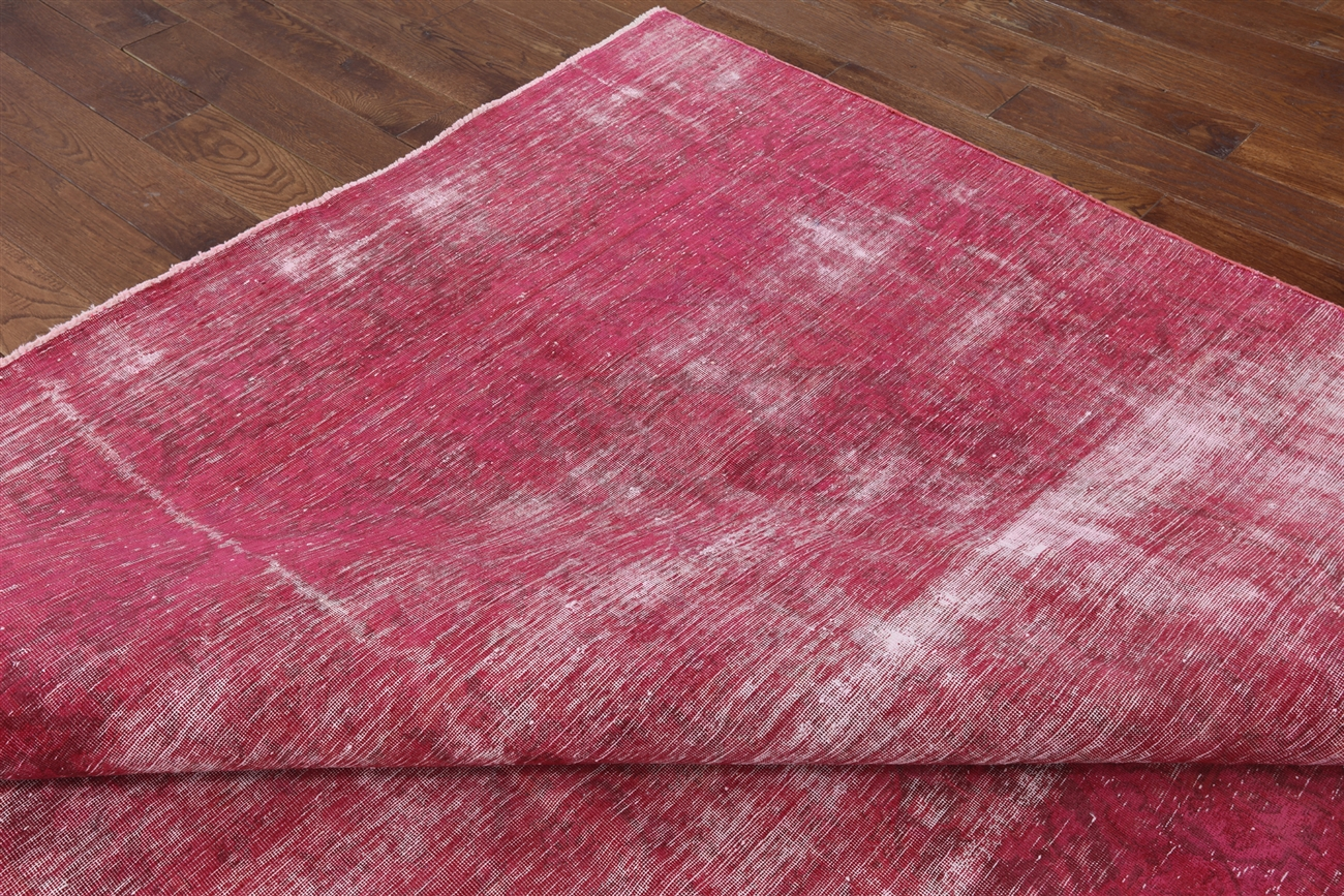 8'x13' Pink Overdyed Rug Floral Hand-Knotted Oriental Persian Area Rugs  H3052 - 8'x13' Pink Overdyed Rug Floral Hand-Knotted Oriental Persian Area
