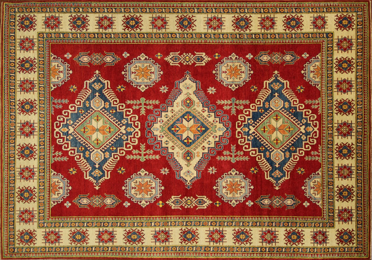 3 Diamond Design Red Veg Dyed Super Kazak 10 X14 Hand