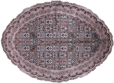 Persian Kashan Pure Silk Oval Rug