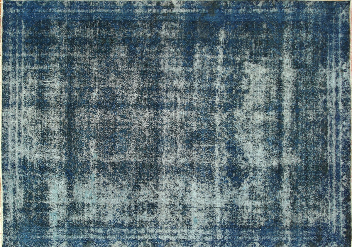 Blue Overdyed Hand Knotted Rug
