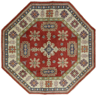 New Octagon Original Wool Hand Knotted Super Kazak Rug