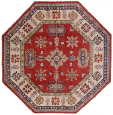 New Octagon Hand Knotted Wool Super Kazak Oriental Rug