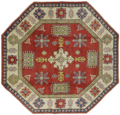 New Octagon Super Kazak Hand Knotted Wool Rug