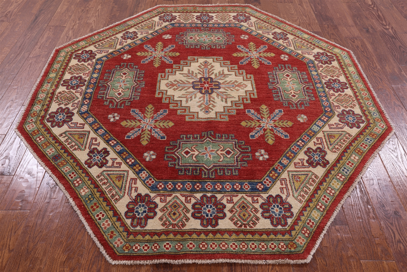New 7 Octagon Geometric Super Kazak Hand Knotted Wool Scarlet