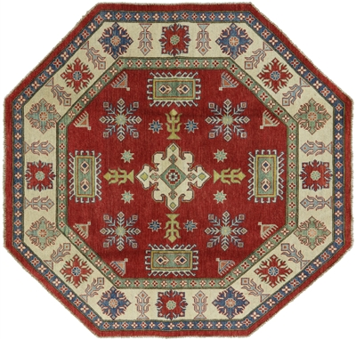 New Original Hand Knotted Octagon Wool Super Kazak Rug