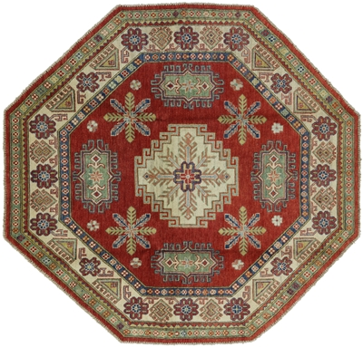 New Hand Knotted Wool Octagon Super Kazak Area Rug