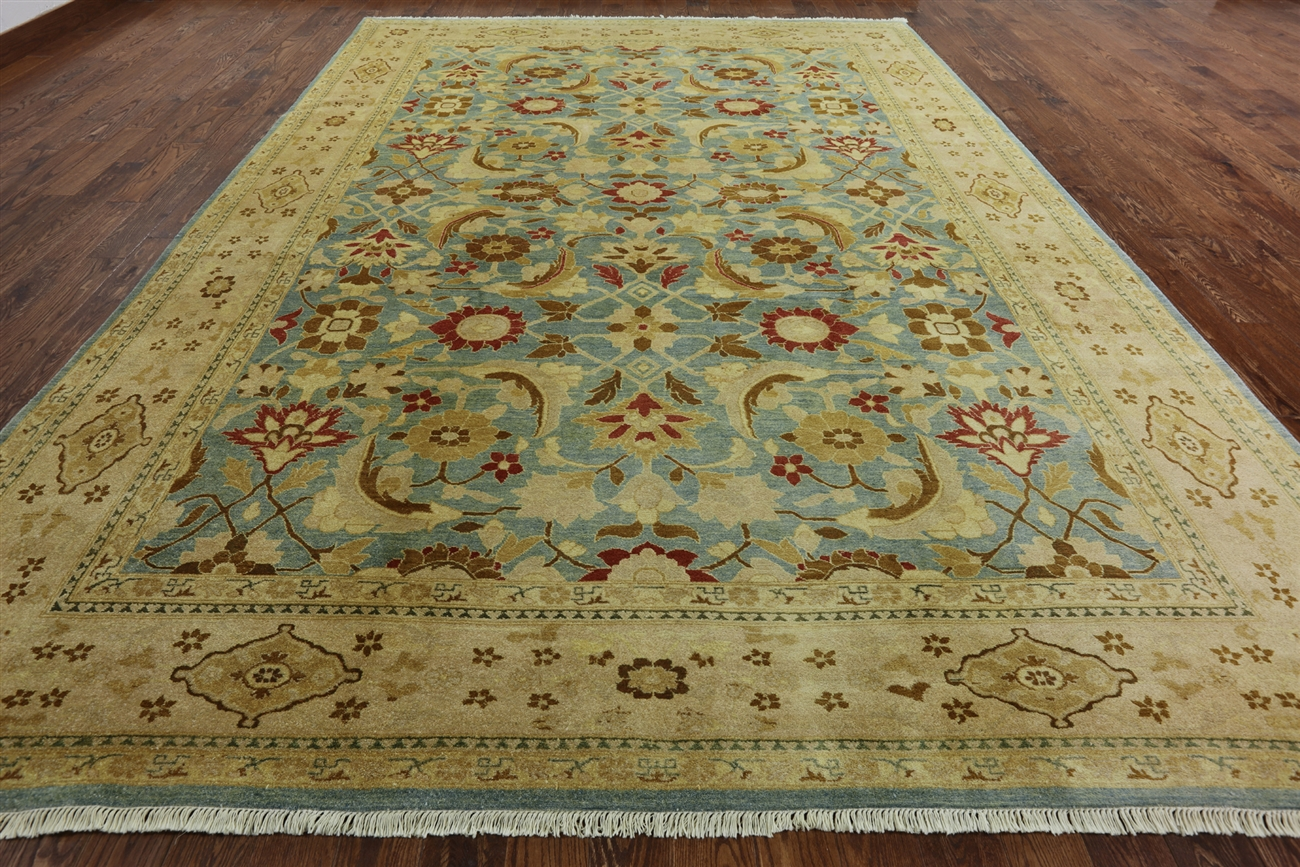 10 x 15 hand knotted blue persian wool area rug - h6251