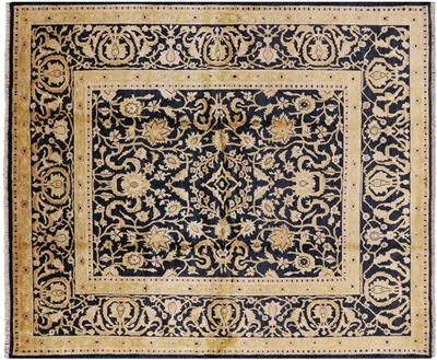 Signed Navy Blue/Gold Hand Knotted Peshawar Wool Area Rug