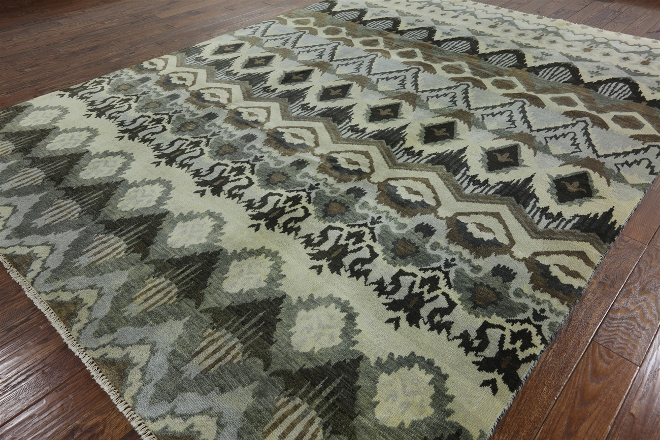 modern collection x ikat hand knotted wool area rug h -