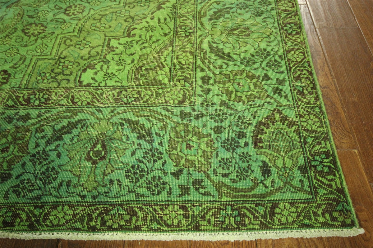 One Of A Kind 10x12 Lime Green Overdyed Tabriz Hand