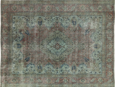 Overdyed Hand Knotted Persian Tabriz Rug