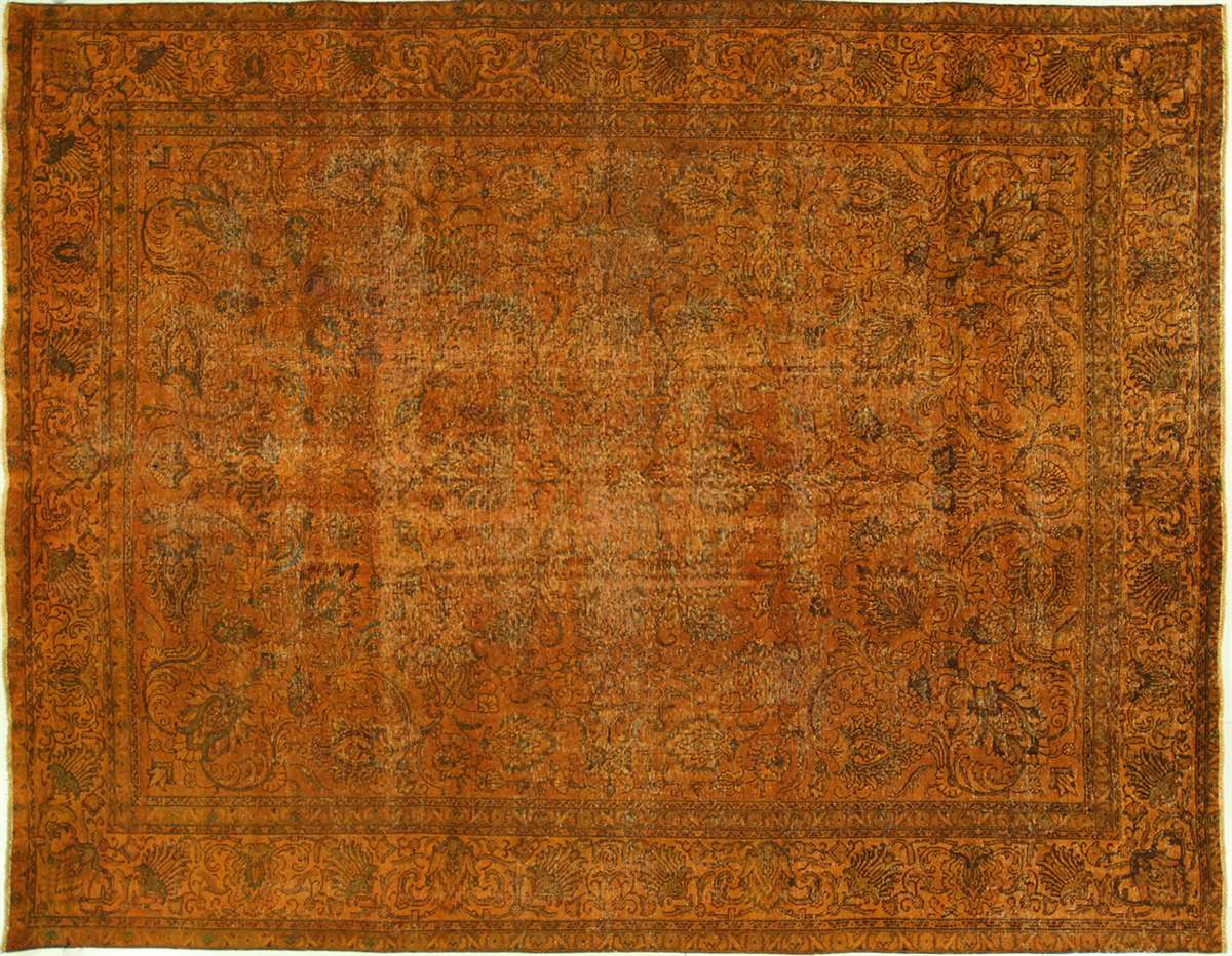 10u0027x12u0027 Sunirise Orange Tabriz Overdyed Hand Knotted Wool Area Rug H7402