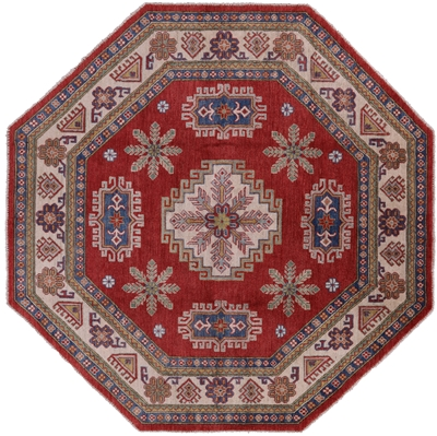 Octagon Motif Super Kazak Hand Knotted Wool Area Rug