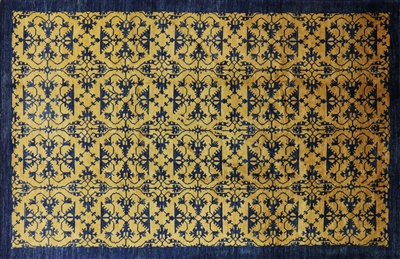 Art Deco Oriental Gold & Navy Blue Area Rug