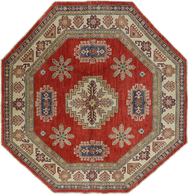 Octagon Super Kazak Hand Knotted Wool Rug