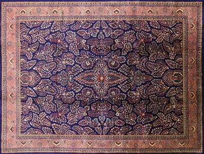 Blue Floral Hand Knotted Area Rug