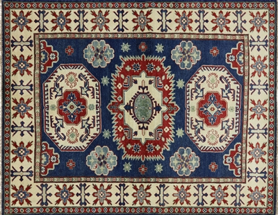 Geometric Blue Super Kazak Hand Knotted Rug